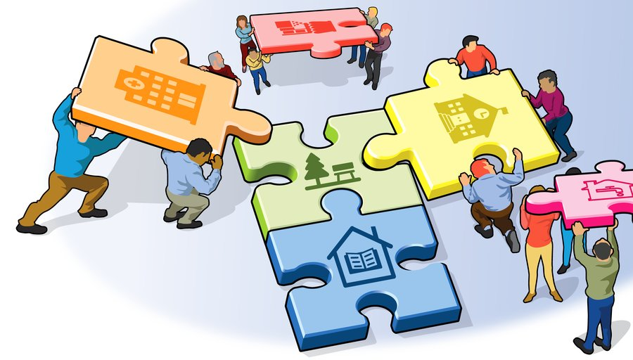 Puzzle pieces of community resources being put together