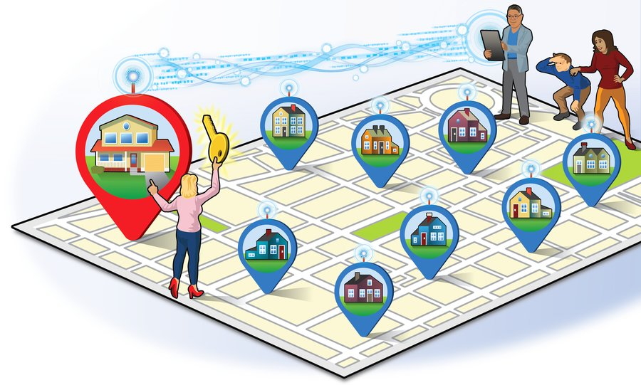 An area map and couple trying to find residential real estate