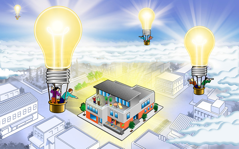 Hot air balloons with light bulbs float over a business center in Clark County